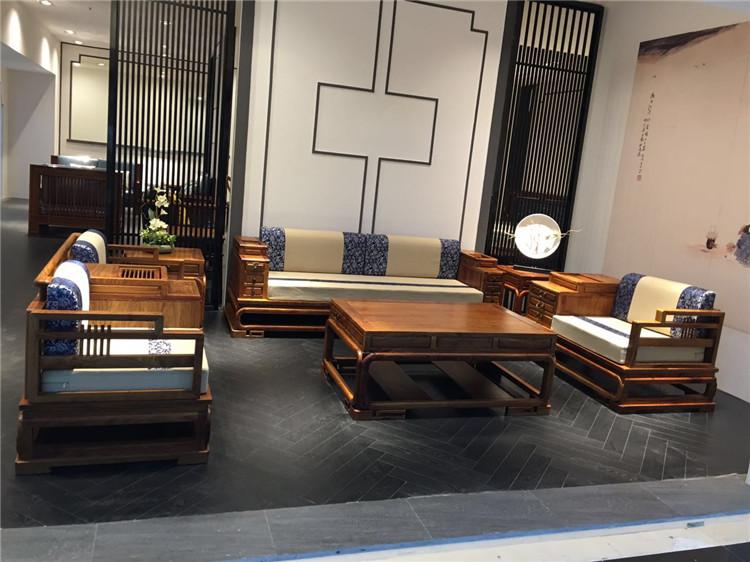 刺猬紫檀新中式沙发6件套图片